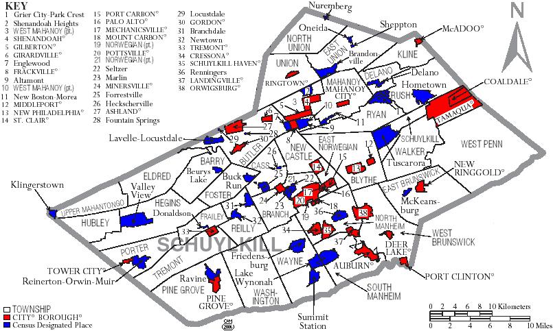 Map of Schuylkill County Pennsylvania
